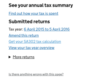 Get your SA302 Tax Calculation