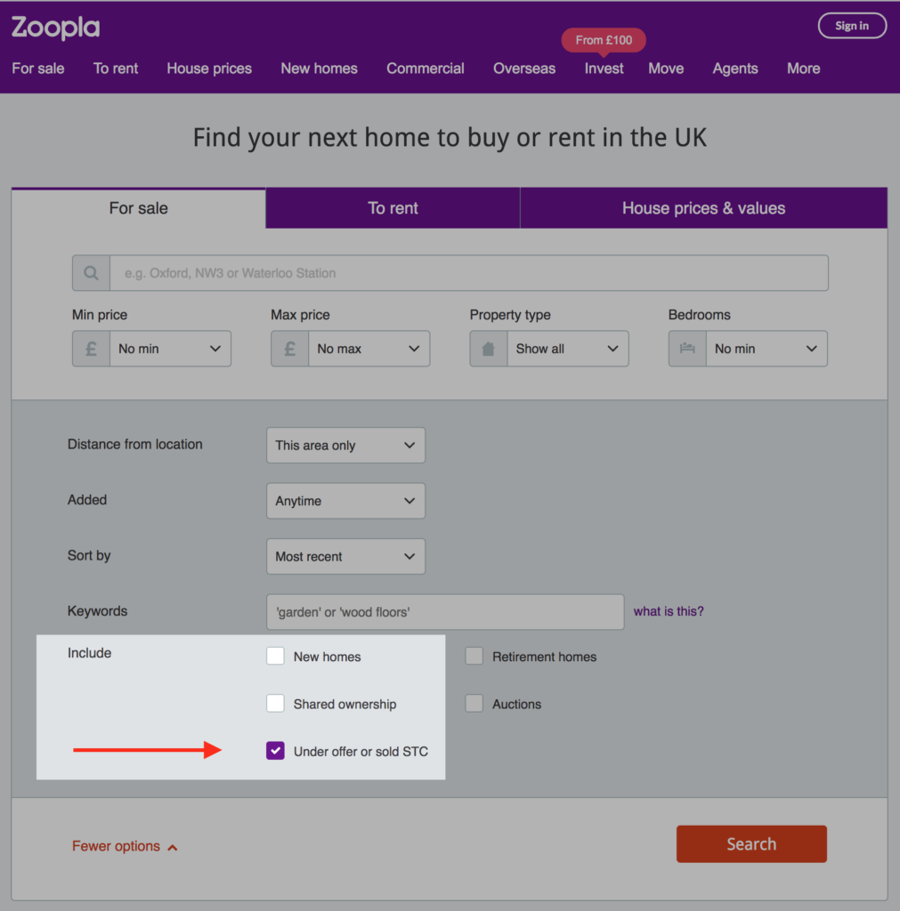 Zoopla Include Sold Properties