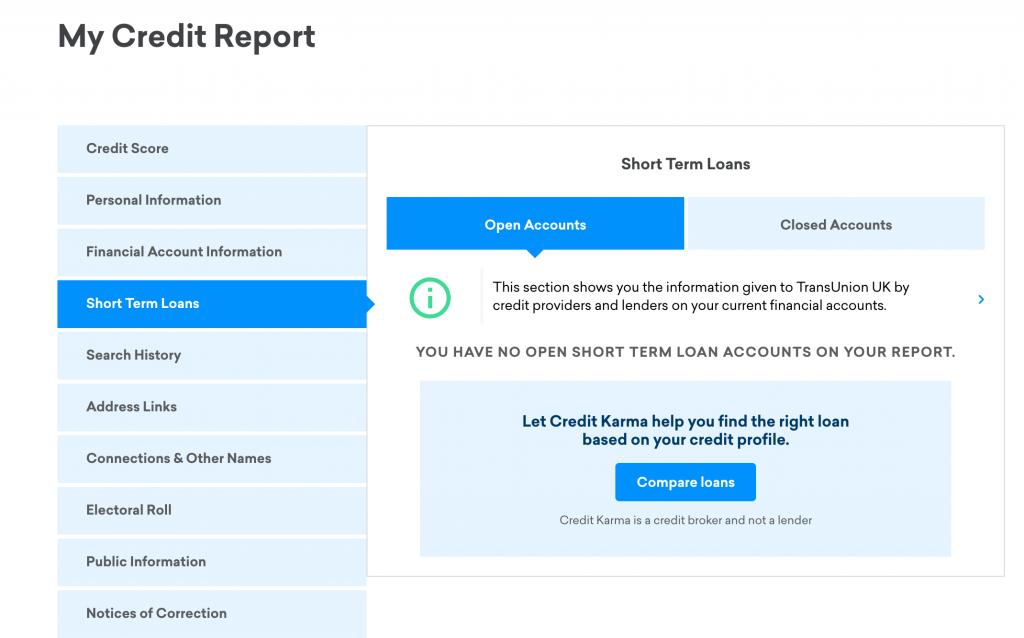 Credit Karma - Credit Report Layout